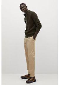 Mango Man - Kardigan BINGER. Okazja: na co dzień. Kolor: brązowy. Materiał: dzianina, bawełna. Styl: casual