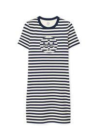 Tory Burch - TORY BURCH - Sukienka mini w paski. Kolor: biały. Materiał: bawełna. Wzór: paski. Długość: mini