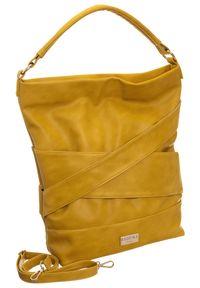 Żółta torebka Badura z aplikacjami, zdobiona