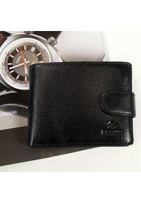 Krenig - Skórzany portfel męski KRENIG Classic 12080 czarny w pudełku. Kolor: czarny. Materiał: skóra