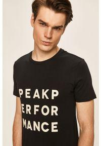 Czarny t-shirt Peak Performance z nadrukiem, casualowy, na co dzień