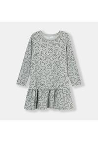 Sinsay - Sukienka w kotki - Szary. Kolor: szary