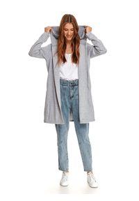 TOP SECRET - Dłuższa niezapinana bluza z kapturem. Typ kołnierza: kaptur. Kolor: szary. Materiał: tkanina. Długość rękawa: długi rękaw. Długość: długie. Sezon: jesień