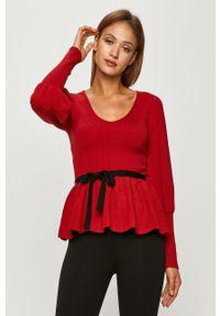 Czerwony sweter Silvian Heach długi, z długim rękawem, klasyczny