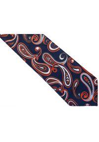 Modini - Granatowy krawat męski w pomarańczowy paisley C14. Kolor: pomarańczowy, niebieski, wielokolorowy. Materiał: tkanina, mikrofibra. Wzór: paisley