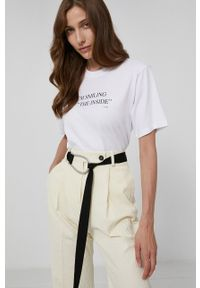 Victoria Victoria Beckham - T-shirt bawełniany. Kolor: biały. Materiał: bawełna. Wzór: nadruk