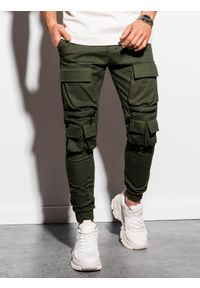 Ombre Clothing - Spodnie męskie joggery P995 - khaki - XXL. Kolor: brązowy. Materiał: bawełna, elastan