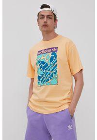 adidas Originals - T-shirt. Okazja: na co dzień. Kolor: pomarańczowy. Wzór: nadruk. Styl: casual