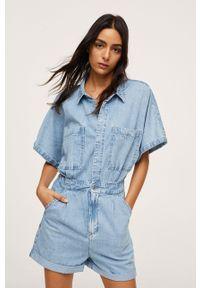 mango - Mango - Kombinezon jeansowy MILA. Okazja: na co dzień. Kolor: niebieski. Materiał: jeans. Długość rękawa: krótki rękaw. Długość: krótkie. Styl: casual