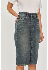 G-Star RAW - G-Star Raw - Spódnica jeansowa. Stan: podwyższony. Kolor: szary. Materiał: jeans