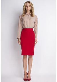 Lanti - Ołówkowa Czerwona Spódnica Midi z Wysokim Stanem. Stan: podwyższony. Kolor: czerwony. Materiał: wiskoza, poliester