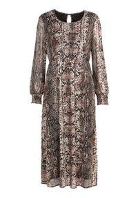Beżowa sukienka Cellbes z nadrukiem, z okrągłym kołnierzem, z długim rękawem, elegancka