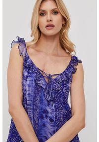 Fioletowa sukienka Nissa rozkloszowana, midi, na ramiączkach