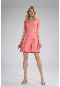 e-margeritka - Sukienka wiskozowa na lato rozkloszowana koral - m. Materiał: wiskoza. Sezon: lato. Typ sukienki: rozkloszowane
