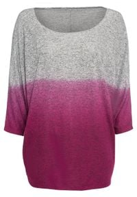 Shirt oversize w cieniowanym kolorze bonprix szaro-jeżynowy melanż. Kolor: szary. Wzór: melanż