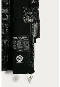 Czarna kurtka Guess Jeans na co dzień, z kapturem, casualowa