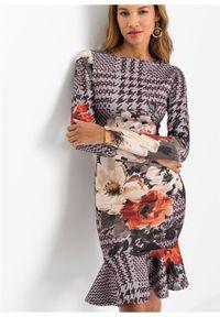 Szara sukienka bonprix w kwiaty