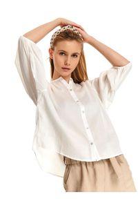 TOP SECRET - Koszula długi rękaw damska gładka. Okazja: na co dzień. Kolor: biały. Długość rękawa: długi rękaw. Długość: długie. Wzór: gładki. Sezon: wiosna, lato. Styl: klasyczny, casual
