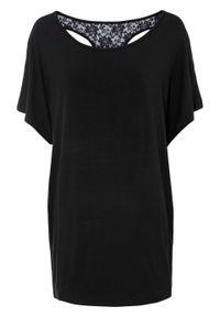 """Shirt """"nietoperz"""" z koronką bonprix czarny. Kolor: czarny. Materiał: koronka. Wzór: koronka"""