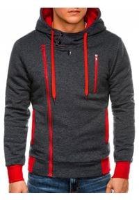 Ombre Clothing - Bluza męska rozpinana z kapturem B297 - grafitowa/czerwona - L. Typ kołnierza: kaptur. Kolor: czerwony. Materiał: dzianina, poliester, bawełna