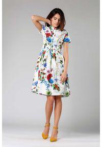 Sukienka wizytowa Nommo ze stójką, szmizjerki, z krótkim rękawem, w kwiaty
