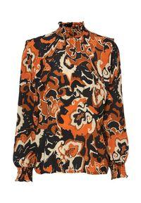 Pomarańczowa bluzka Freequent na jesień, z długim rękawem