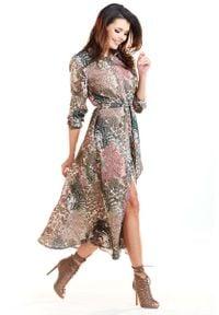 Awama - Brązowa Długa Sukienka Koszulowa w Cętki. Kolor: brązowy. Materiał: poliester, elastan. Typ sukienki: koszulowe. Długość: maxi