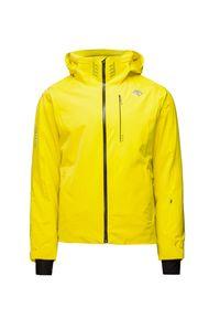Żółta kurtka narciarska Descente w kolorowe wzory