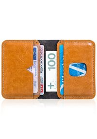 Cienki skórzany portfel męski Solier SW11 jasnobrązowy. Kolor: brązowy. Materiał: skóra