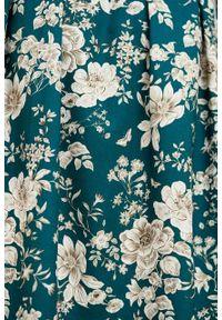 Marie Zélie - Sukienka Leandra Arcevia zielona. Typ kołnierza: kokarda. Kolor: zielony. Materiał: materiał. Długość rękawa: długi rękaw