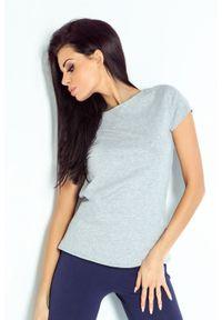 IVON - Bawełniana Koszulka z Dekoltem na Plecach - Szara. Kolor: szary. Materiał: bawełna