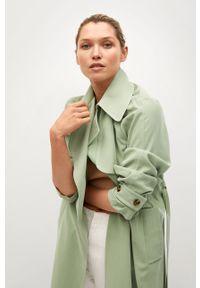 Zielony płaszcz mango klasyczny, na co dzień, gładki