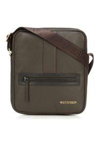 Wittchen - Męska listonoszka skórzana stębnowana mała. Kolor: brązowy. Materiał: skóra. Styl: sportowy, klasyczny, elegancki, casual