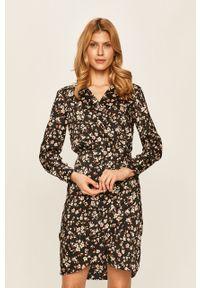 Czarna sukienka Morgan prosta, w kwiaty, mini
