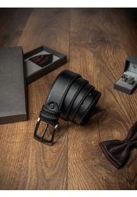 ROVICKY - Pasek męski Rovicky PSN-01-ARS 115cm czarny. Kolor: czarny. Materiał: skóra. Styl: klasyczny, elegancki