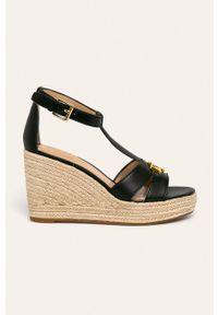 Czarne sandały Lauren Ralph Lauren na klamry