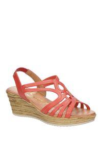 Oh My Sandals - sandały skórzane na koturnie oh my sandals 3480. Kolor: czerwony. Materiał: skóra. Sezon: lato. Obcas: na koturnie