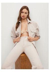 mango - Mango Koszula jeansowa Maia 87085648 Beżowy Relaxed Fit. Kolor: beżowy. Materiał: jeans