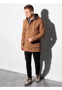 Brązowy płaszcz Ombre Clothing z kapturem, na wiosnę
