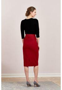 Marie Zélie - Spódnica Nela wełna czerwona. Stan: podwyższony. Kolor: czerwony. Materiał: wełna. Styl: elegancki