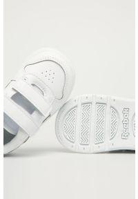 Białe buty sportowe z cholewką, z okrągłym noskiem, Reebok Classic