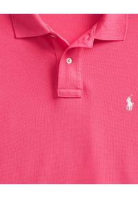 Ralph Lauren - RALPH LAUREN - Różowa koszulka polo Slim Fit Mesh. Typ kołnierza: polo. Kolor: wielokolorowy, fioletowy, różowy. Materiał: mesh. Długość: długie. Wzór: haft #4