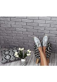 Srebrne półbuty Zapato z okrągłym noskiem, wąskie, na lato, na sznurówki
