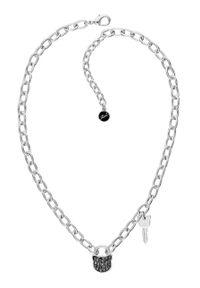 Srebrny naszyjnik Karl Lagerfeld z mosiądzu, z kryształem