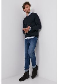Hugo - Sweter wełniany. Okazja: na co dzień. Kolor: niebieski. Materiał: wełna. Styl: casual