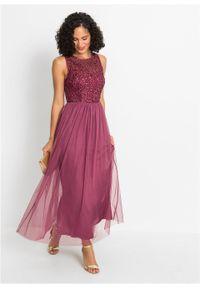 Fioletowa sukienka bonprix z aplikacjami, maxi