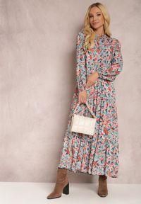 Renee - Niebiesko-Różowa Sukienka Phaelerine. Kolor: niebieski. Długość rękawa: długi rękaw. Wzór: kwiaty. Styl: klasyczny. Długość: maxi