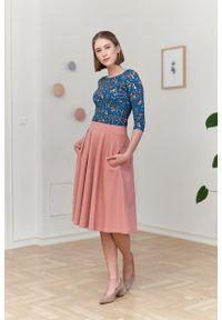 Marie Zélie - Spódnica Ada pudrowy róż. Kolor: różowy. Materiał: bawełna, dzianina, guma, elastan