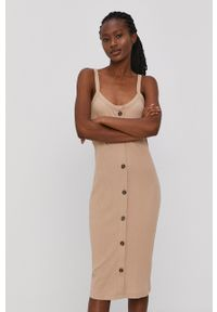 Vero Moda - Sukienka. Kolor: beżowy. Materiał: bawełna, materiał. Długość rękawa: na ramiączkach. Typ sukienki: dopasowane