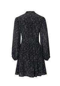 JENESEQUA - Czarna sukienka z jedwabiu Moscou. Kolor: czarny. Materiał: jedwab. Wzór: grochy. Długość: mini